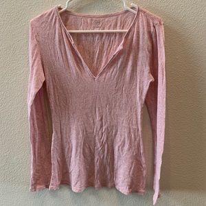 Gap light pink long sleeve split neck top